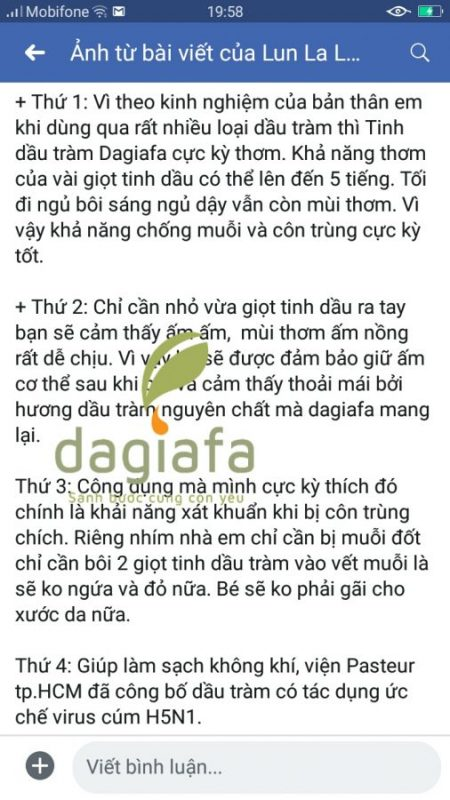 Chất lượng tinh dầu tràm Dagiafa như thế nào