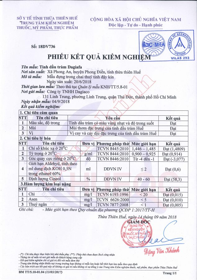 Phiếu kiểm tra chất lượng tinh dầu tràm Dagiafa