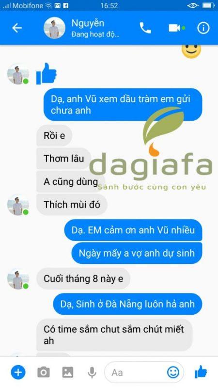 Anh Vũ nhận xét tinh dầu tràm Dagiafa mùi thơm