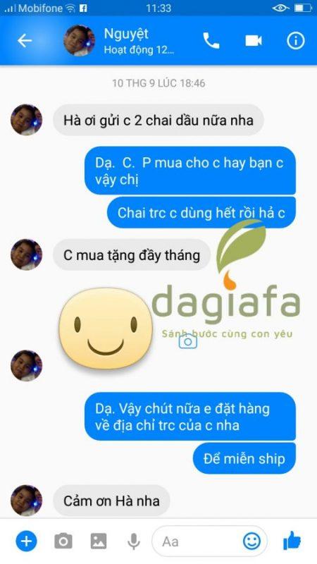 Chị Phương đặt mua thêm tinh dầu tràm Dagiafa để tặng bạn.