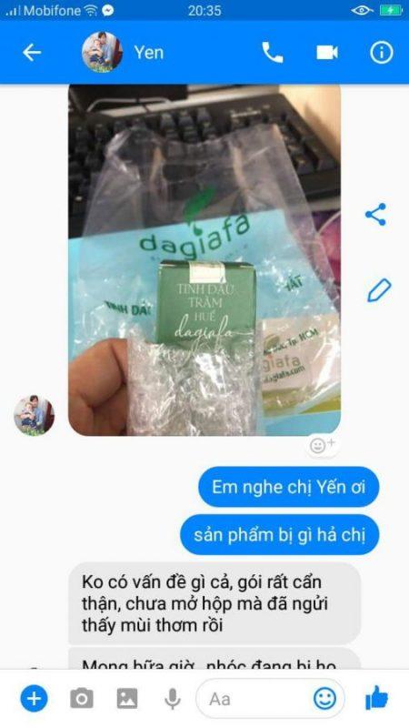 Chị Yến ở Bình Thuận mua tinh dầu tràm dagiafa