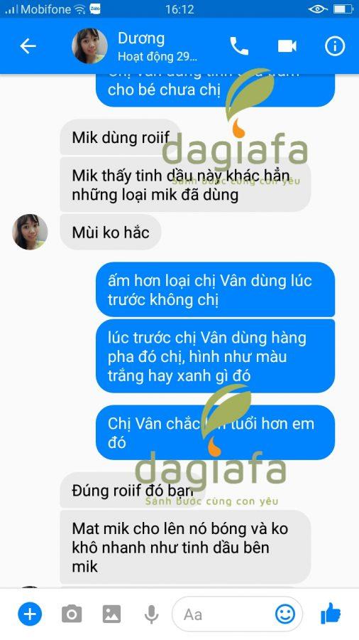 Chị Vân nhận xét tinh dầu tràm Dagiafa