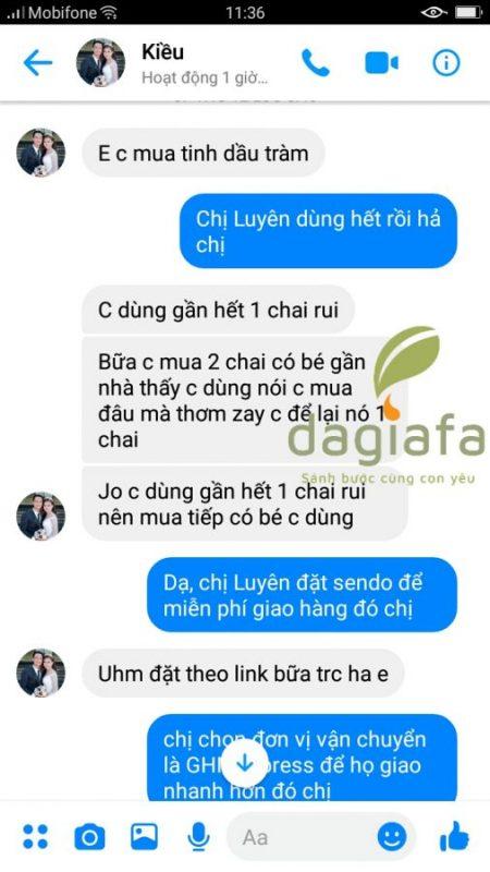Chị Luyên đặt mua thêm tinh dầu tràm Dagiafa