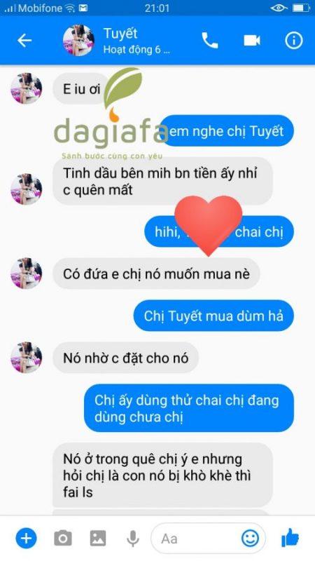 Chị Tuyết giới thiệu bạn mua tinh dầu tràm Dagiafa