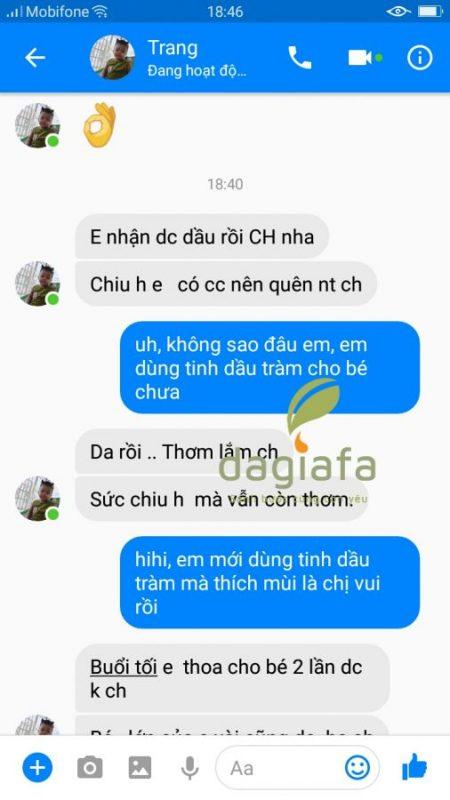 Chị Trang mua tinh dầu tràm Dagiafa