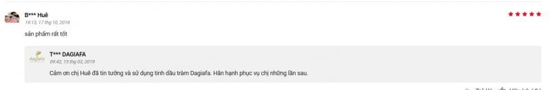 Chị Huê đánh giá tinh dầu tràm Dagiafa trên trang thương mại điện tử