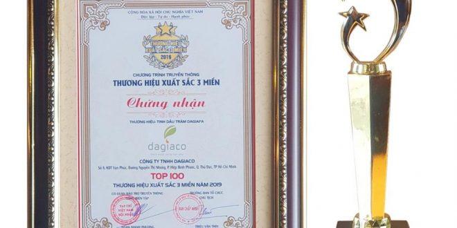 Tinh dầu tràm Dagiafa nhận cúp thương hiệu xuất sắc 3 miền